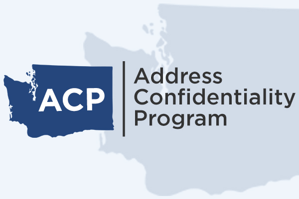 dark blue image of Washington state with the letters ACP imposed on top, black line separates the words Address Confidentiality Program from the image of the state.