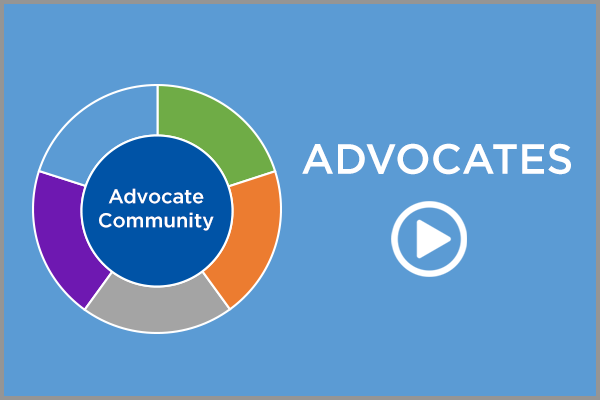advocacy wheel with play icon