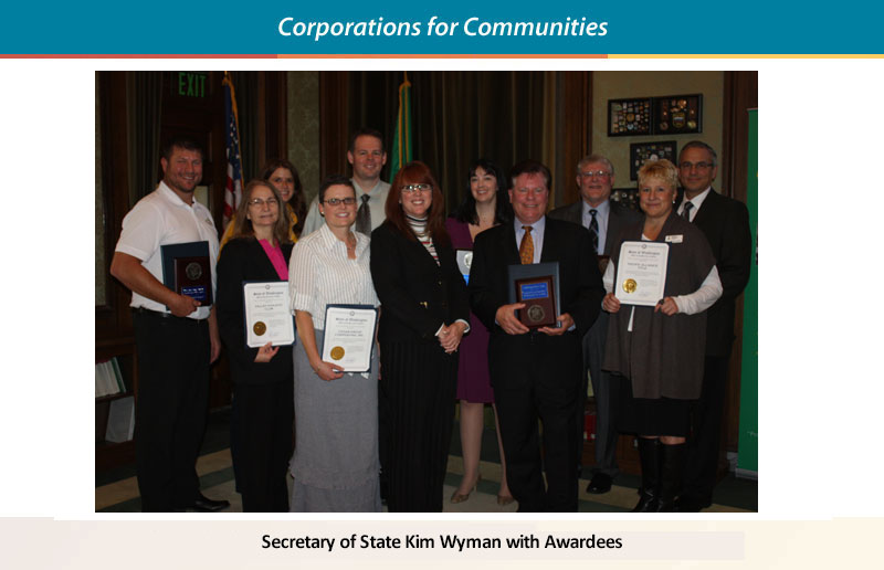 Secretary of State Kim Wyman with awardees