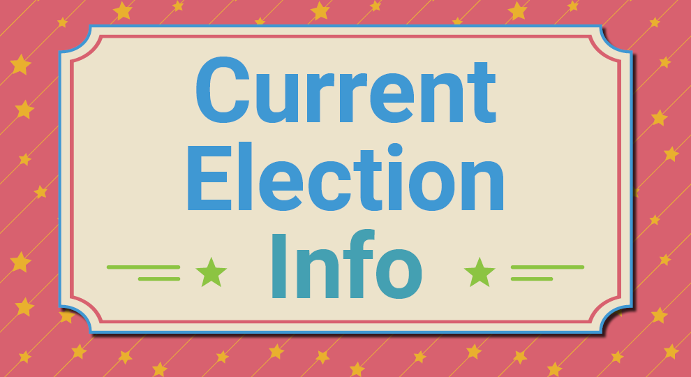 image with red background with an overlay of diagonal stars and lines, featuring a centered tan box with the words current election info centered on the page