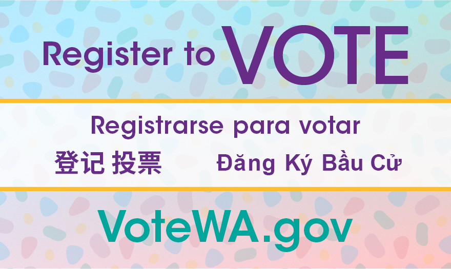 Register to vote graphic with multilingual text and light colored background