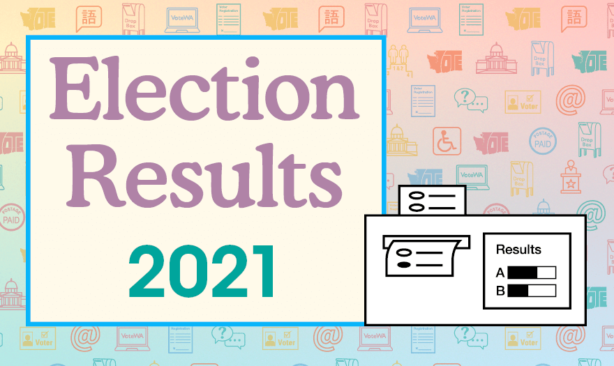 Election Results 2021 with illustration of ballot going through tabulation machine.