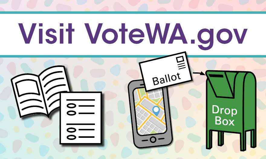 Visit VoteWA.gov with icons of voter guide and ballot on the left, cell phone with map, ballot, and drop box on the right