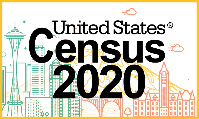 line illustration of seattle skyline, mt. rainier, spokane skyline with the words Census 2020 in the front