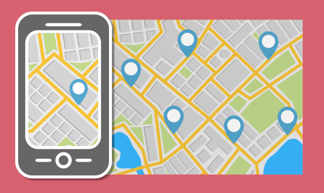 image of a illustrated street view map with pins and a illustrated smartphone on the left showing drop box locations