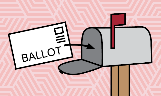 image with light pink background with illustration of mailbox and a ballot being placed into the mailbox