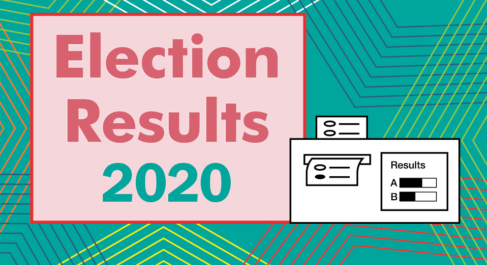 illustration of a ballot tabulation box with the words 2020 election results on the right