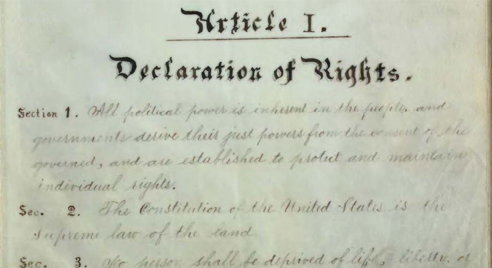 Digital image of the Washington State Constitution from 1889 - Declaration of Rights section