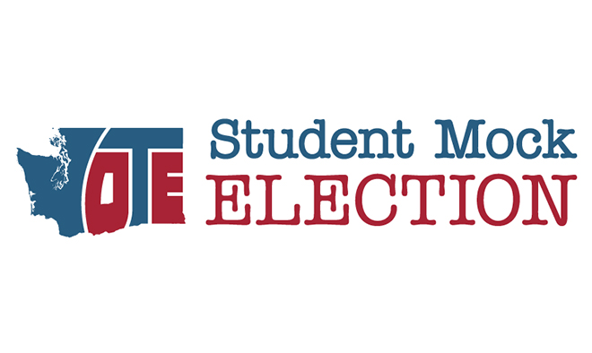 Logo of WA state with the words Student Mock Election