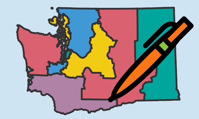 image of a line drawing of Washington state with the county outlines