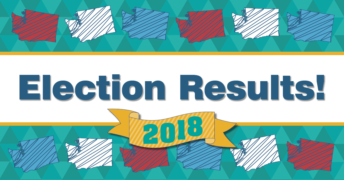 Graphic with Washington state image and the words election results 2018 on the image