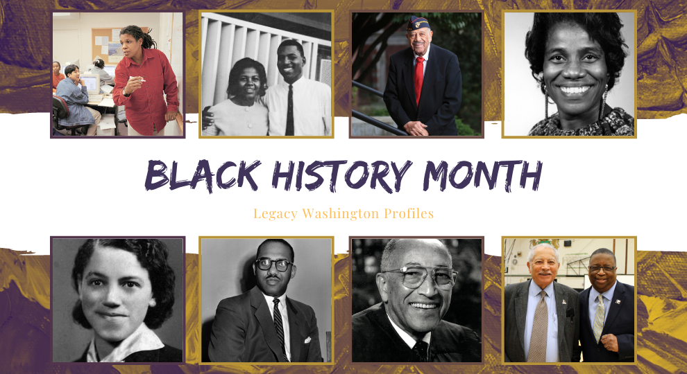 four images of Legacy Washington profile subjects from different exhibits on the top and 4 images on the bottom with the words Black History Month, Legacy Washington Profiles written in the middle