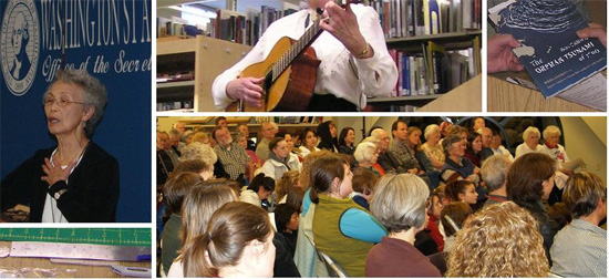 Five panel image: woman speaking, woman playing guitar, two hands exchanging a book, preservation tools, event attendees in a crowd