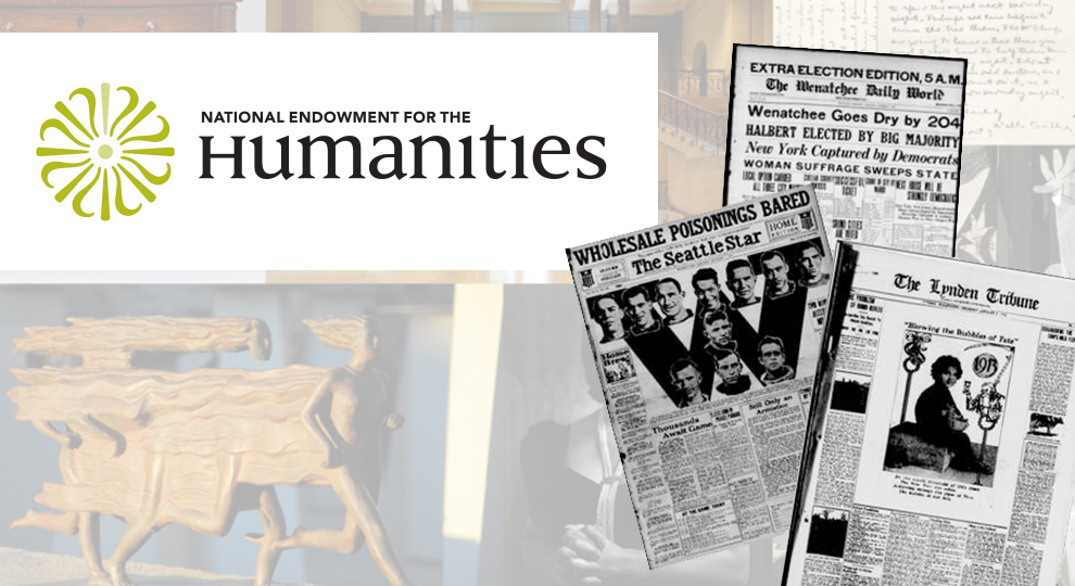 Collage of picture with logo from National Endowment for the Humanities on the upper left hand side, with a cutout of old newspapers overlaid on the image on the right hand side