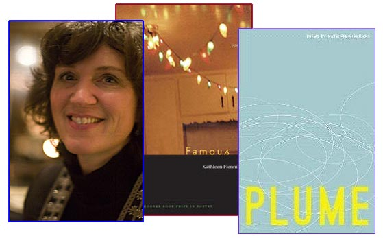 "Three images: Picture of Kathleen Flenniken, cover picture of ""Famous"" and cover picture of ""Plume"""