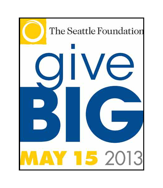 Text: Seattle Foundation GiveBIG May 15 2013