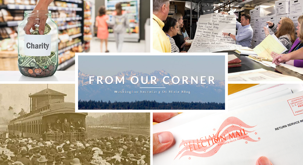 Collage of images from our blog including hand putting money in a jar marked charity, image of archivist showing historical documents to group, image of election envelope, historical image of a train