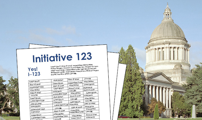 Initiative sheet superimposed over a picture of the state Capitol.