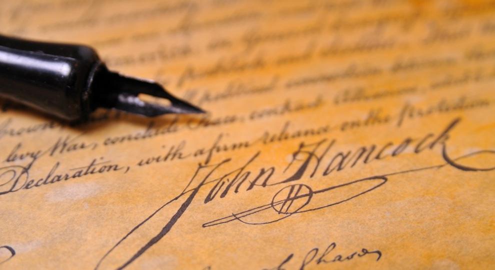 Fancy pen with a John Hancock signature