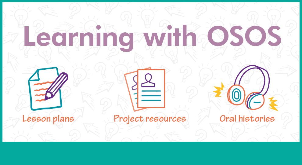 Learning with OSOS illustration with a drawing of paper and pencil, paper reports, and head phones. Under the images are the words lesson plans, project resources, and oral histories.