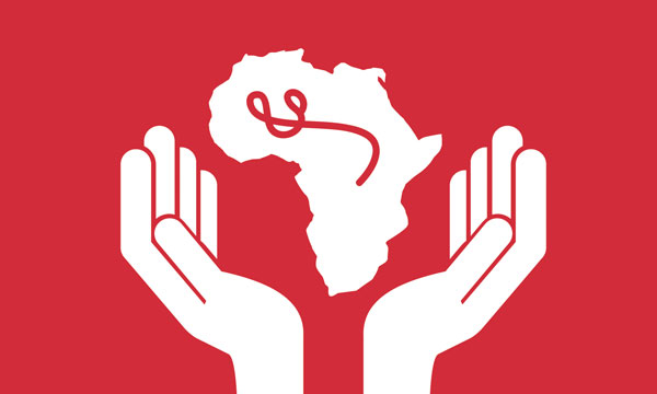 hands holding the african continent with an ebola drawing