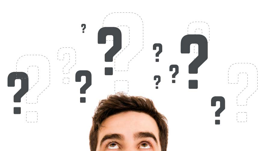 Man with question marks around his head
