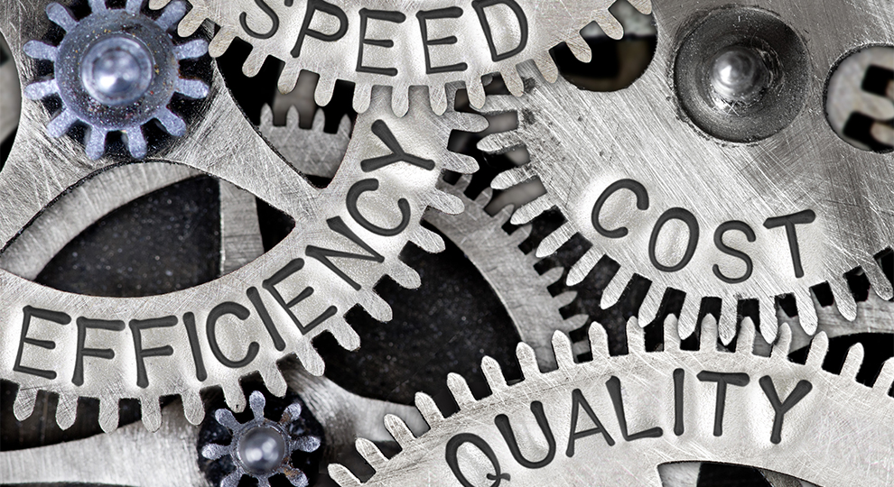 Gears with words Speed, Efficiency, Cost and Quality