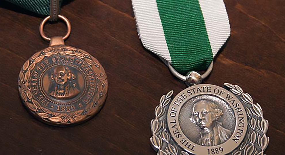 Close up photo of the Washington State Medals of Valor and Merit