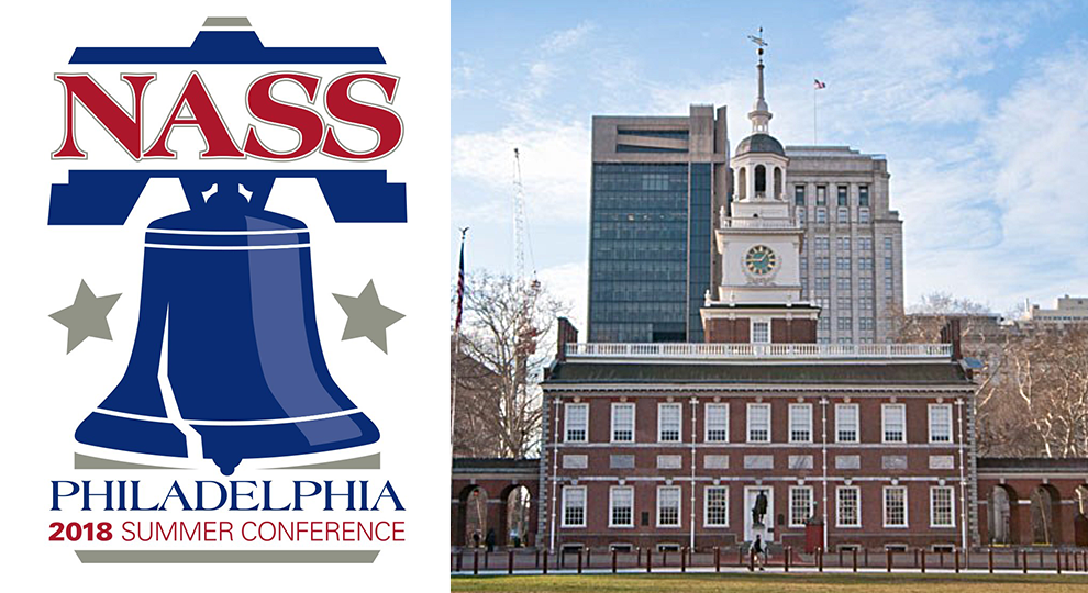 Picture of NASS Summer Conference logo for 2018 of Liberty Bell next to an image of Independence Hall in Philadelphia