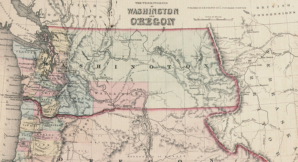 1853 map of Territories of Washington and Oregon